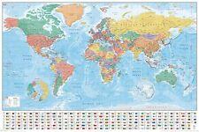 MAPPA del mondo-colore a Nuovo di zecca completo Poster educativo-Bandiere e Fatti PP33948