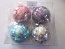 4 Pink Purple Silver Turquoise Iced 4 In Shatter Resistant Ornament Christmas