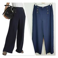 [ WITCHERY ] Womens Navy Wide Leg Sailor Pants | Size AU 10 or US 6