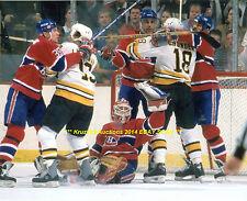 PATRICK ROY Big SAVE vs Boston Bruins 8x10 Photo MONTREAL CANADIENS HOF GOALIE