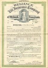 Reliance Life Insurance Company PA specimen certificate