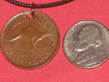 OLD VINTAGE COPPER BROWN AUSTRALIAN AUSTRALIA KANGAROO COIN PENDANT NECKLACE