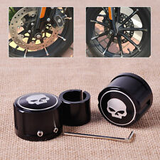 2x Black Skull Aluminum Front Axle Nut Cover Bolt Kit fit Harley Touring Softail