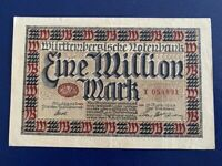 20 MILLION MARK RAIL BANKNOTE 1923-INFLATION GERMANY VERY FINE PLUS