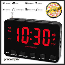 Digital Bedside Alarm Clock FM Radio w/ USB Charger Earphone Jack Snooze 12/24H