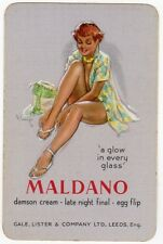 Playing Cards 1 Single Swap Card Old SIGNED Girl Lady PIN UP Gale Lister MALDANO