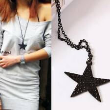 Women Long Sweater chain Charm v Black Five-pointed Star Pendant Necklace For