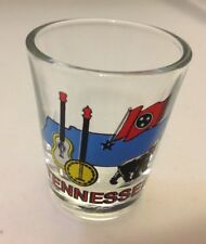STATE OF TENNESSEE SOUVENIR SHOT GLASS BEAR FLAG GUITAR BANJO STATE OUTLINE