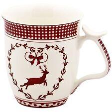 Hirsch weiß mit rot Jumbobecher Jumbotasse Kaffeebecher 0,5 L