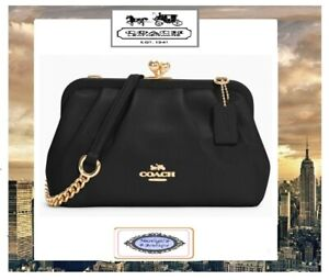 NWT COACH NORA Kisslock Crossbody Bag In BLACK PEBBLED Leather Pleated Gold Hdwr