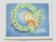 1940's Holly wreath in candle glow Christmas vintage greeting card C*