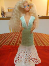 CROCHET FASHION DOLL BARBIE OUTFIT-NIGHTGOWN #3-DOLL INCLUDED