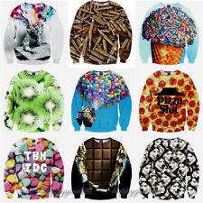 2017 Women Men 3D Animal Print Food Hoodie Sweatshirt Galaxy Jumper Pullover Top