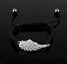 New Silver Angel Wing Shape Handmade Adjustable Crystal Charm Bracelet Jewelry
