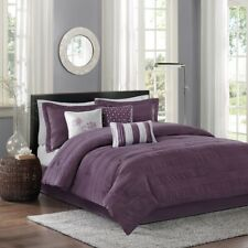 New Queen Size Hampton 7 Piece Comforter Set Purple Black Madison Park Mp10-1026