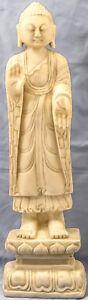 """ANTIQUE HAND CARVED STANDING ABHAYA MUDRA BUDDHA WHITE MARBLE STONE STATUE 21"""""""