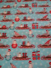 SEALS ON SLEIGHS & GIFTS CHRISTMAS HOLIDAY FQ 100% Cotton Fabric Quilt Sew Craft