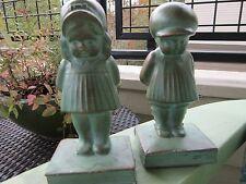 "ANTIQUE ORIGINAL BRONZED METAL ""LITTLE DARLINGS"" BOY & GIRL BOOKENDS CIRCA 1923"