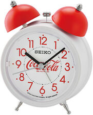 Seiko QHK905W Wecker Coca Cola Weiß Quarz Glockenwecker Quarzwecker