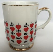 Red Heart Pedestal Mug By Relpo Vintage Queen Of Hearts Footed Cup White Black