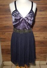 Maria Bianca Nero Size L  Purple Cocktail Mini Evening Beaded Waist Silk Dress