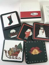Pimpernel 6 Coasters Six Assorted Christmas Design Green Red W/Box Vintage