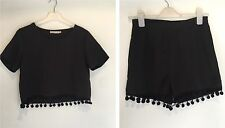 BLACK TOP & SHORTS SET SIZE S SUMMER HOLIDAY TOWIE CHELSEA BEACH CELEB PARTY GYM