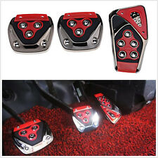 3 Pcs Red Manual Transmission Car Brake Non-Slip Foot Pedal Cover Pad Cover Kit