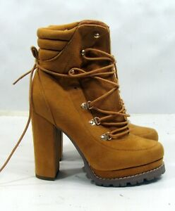 """TAN  5""""High Block Heel Round Toe Lace up Sexy Ankle Boots WOMEN Size  8.5"""