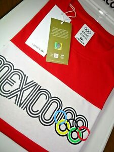 LACOSTE MENS OLYMPIC HERITAGE MEXICO 68 REGULAR FIT CREW T-SHIRT FR 3/4 S/M £80
