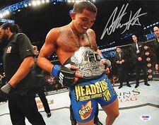 Anthony Pettis Signed UFC 11x14 Photo PSA/DNA 181 164 Picture w/ Belt Autograph
