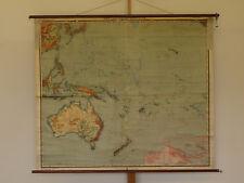 Schulwandkarte Australien Ozeanien Südsee 162x138cm ~1914 vintage Australia map