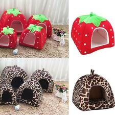 Soft Strawberry Pet Cat Dog Fleece Washable Bed Pyramid Cozy Kennel House Nest