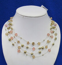 Macys Choker Necklace Gold Tone Metal & Pink Crystal Beads Gold Rhinestone NOS