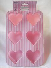 NEW 6 CUP HEART SHAPE HOLE SILICONE TRAY BUN CAKE NON STICK MOULD TIN PINK DGI