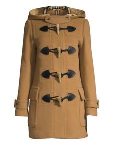 100% AUTH NEW WOMEN BURBERRY MERTON WOOL BLEND DUFFLE CAMEL JACKET/COAT US 10