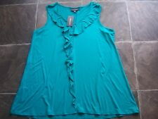BNWT Women's Autograph Green Jade Frilly Singlet Top Size 16