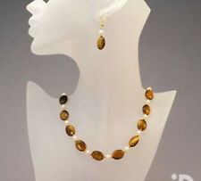 real necklace Earrings Set 18'' Aa 1566 13X18mm Natural Yellow Tiger Eye + pearl