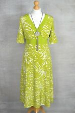 HOBBS Lime green tropical print 100% silk fit & flare v-neck dress 10