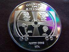 XRare 1974 CRONKITE+DILLON+BALL+EMMY'S Fine Silver Mardi Gras Doubloon-Crack Die
