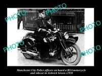 OLD POSTCARD SIZE PHOTO OF MANCHESTER CITY POLICE BSA MOTORCYCLE OFFICERS c1930