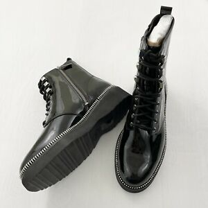Michael Kors Haskell Patent Leather Combat Boots Size 8M $250