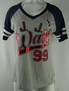 Houston Texans NFL Team Apparel Women's Gray #99 Watt Short Sleeve V-Neck Shirt