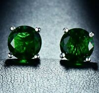 4 Ct Emerald 8mm Round Stud Earrings White Gold Silver