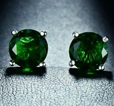 Stud Earrings White Gold Silver 4 Ct Emerald 8mm Round