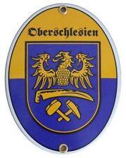 Oberschlesien Emaille Schild Email Gr. 11,5x15cm NEUWARE Fahne Flagge Wappen
