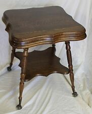 Antique Oak Lamp Table with claw ball feet