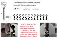 BUNTBARTSCHLÜSSEL Nr. 7 - 38 ZIMMERTÜR EINSTECKSCHLOß SCHLÜSSEL für SSF PEGAU