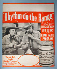 1936 Bing Crosby Rhythm on the Range Movie Display Sign NBC Kraft Radio Show