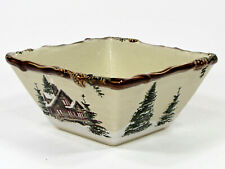 "St. Nicholas Square SNOW VALLEY 20oz Square 6"" Bowl Cabin Reindeer Pine Trees"